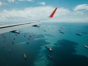 Airplane and ships
