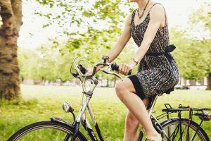Girl drives bike