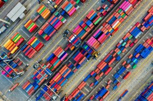 aerial view of colorful shipping containers