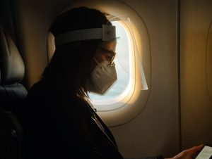 A girl in plane