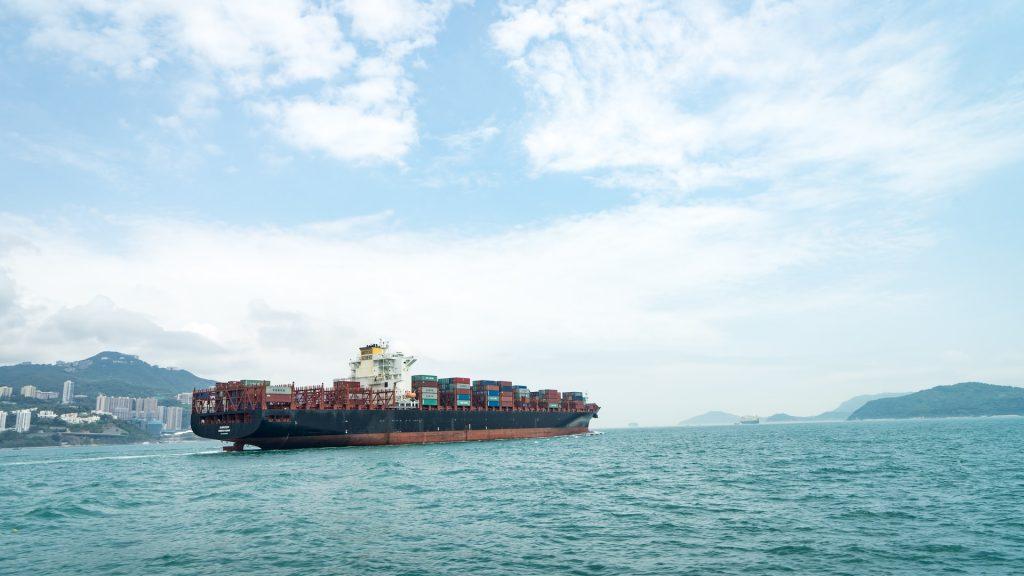 loaded shipping ship