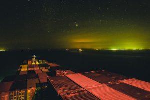 shipping dock at night
