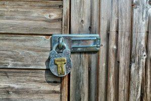 lock on the wooden door