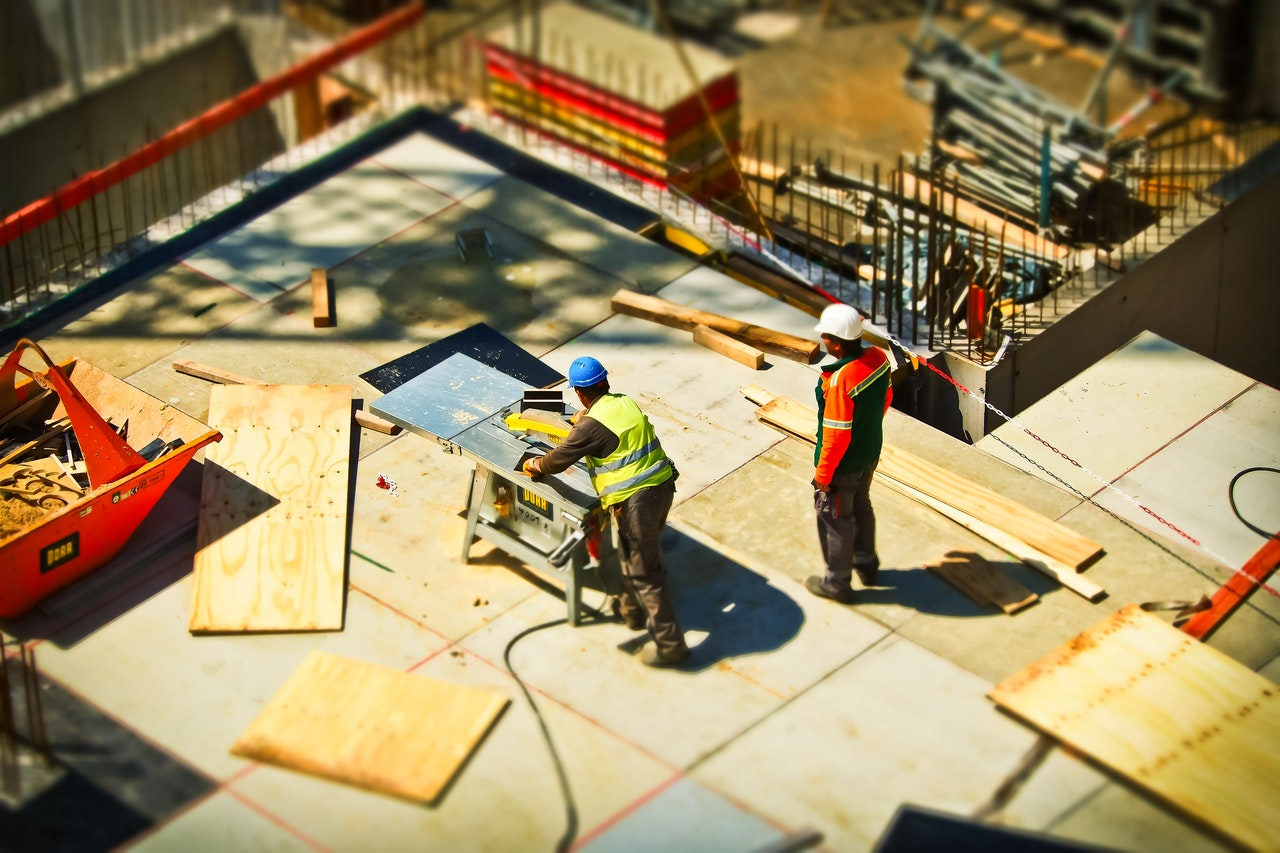 Two man on construction site