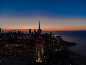 City skyline during night of Kuwait City