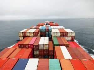 containers on a cargo ship