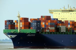 Weather conditions for cargo shipping - a ship carring crate