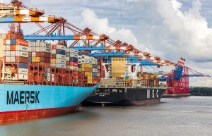 Ships transporting containers