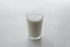 A glass of milk