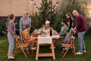 family having a backyard picnic
