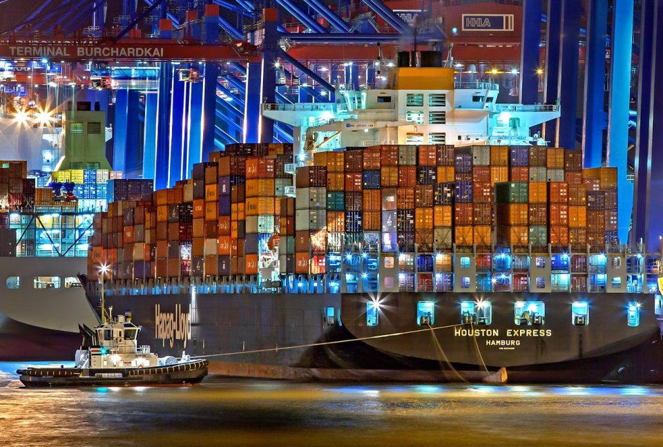 Shipping containers on a carrier