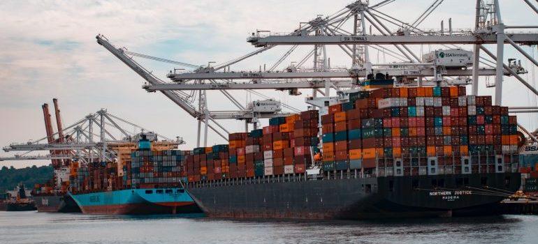 A ship shipping cargo