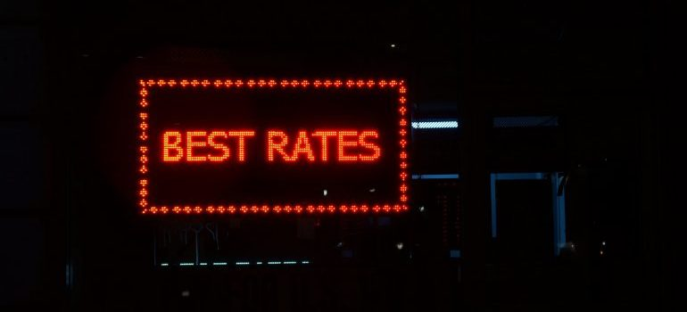 A sign with best rates wirtten on it
