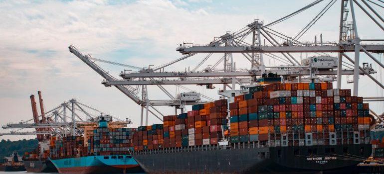 A huge cargo ship