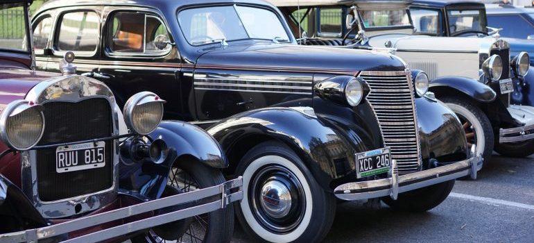 vintage cars parked