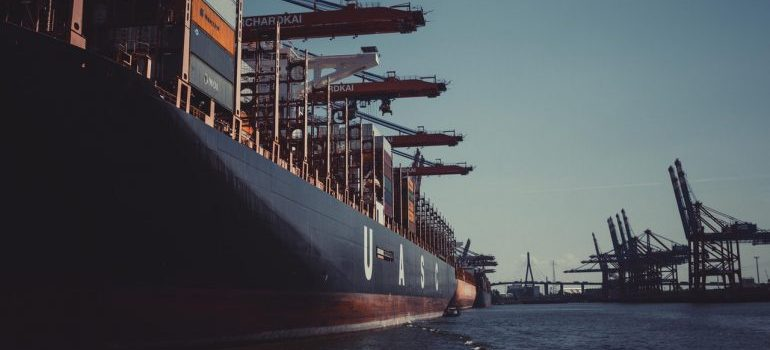 Cargo ship loaded with containers for import or export.