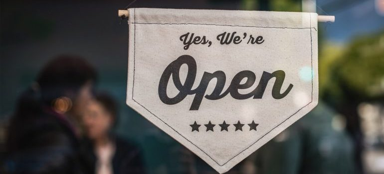 Custom made sign for open small business in the food industry